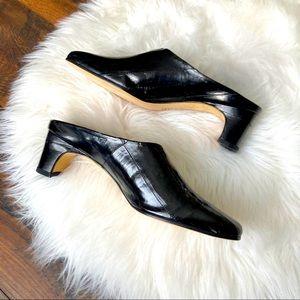 Vaneli Patent Leather Black Mules Block Heel